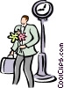 man standing with a bouquet of flowers Vector Clipart picture