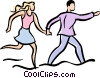 Vector Clipart graphic  of a couple running