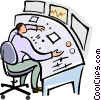 man working at a mixing board Vector Clipart picture