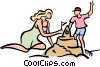 mother and child making a sand castle Vector Clipart picture