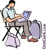 businessman sitting in a directors chair Vector Clipart illustration