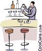 Vector Clip Art graphic  of a bartender mixing a drink