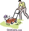 man cutting the grass Vector Clipart illustration