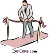 Vector Clip Art graphic  of a man cutting a ribbon