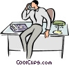 Vector Clip Art graphic  of a businessman on the phone