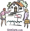 Real estate agent showing a home Vector Clipart picture