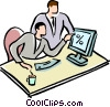 businessman working at the computer Vector Clip Art image
