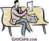 Vector Clipart graphic  of a man sitting on a park bench