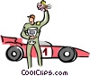 race car driver with his car Vector Clip Art graphic