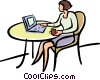 Vector Clip Art image  of a woman with a cup of coffee