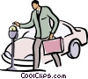 Vector Clipart graphic  of a man putting money into a