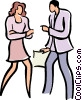 Vector Clip Art picture  of a co workers having a discussion