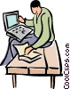 man working on a laptop computer Vector Clip Art picture