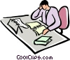 Vector Clipart illustration  of a office clerk working at his