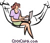 Vector Clip Art graphic  of a women sitting in a hammock