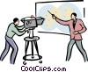 camera man and reporter doing a broadcast Vector Clip Art picture