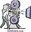 Vector Clip Art graphic  of a movie projector and operator
