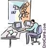 businessman working at the computer Vector Clip Art graphic