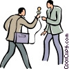 man talking with a reporter Vector Clipart image