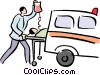 patient being loaded into an ambulance Vector Clipart graphic
