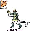 firefighter fighting a fire Vector Clipart illustration