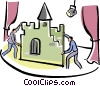 Vector Clipart picture  of a stage hands setting up props