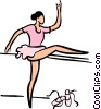 ballerina stretching Vector Clipart graphic