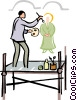 Vector Clip Art graphic  of a painter painting a mural