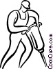 man with a jackhammer Vector Clip Art image