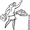 Vector Clipart illustration  of a businesswomen hailing a cab