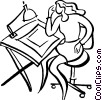 Vector Clip Art image  of a drafting table