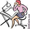 drafting table Vector Clip Art picture