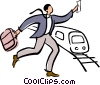 businessman running to catch a train Vector Clip Art image