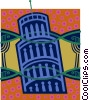 Vector Clip Art picture  of a leaning tower of Pisa