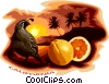 California with sate bird and oranges Vector Clipart picture