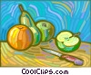 orange, pear, and apples Vector Clip Art picture