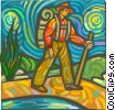 Hiker with walking stick Vector Clip Art image
