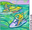 Vector Clipart graphic  of a People on Jet skis