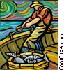 Fisherman bringing in the days catch Vector Clipart picture