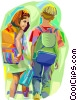 Vector Clip Art graphic  of a children at school