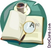 magnifying glass with book Vector Clipart picture