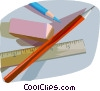school supplies pencils, eraser, and a ruler Vector Clipart graphic