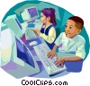Children at school Vector Clipart picture