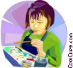 Vector Clipart graphic  of a children at school