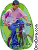 Boy riding his bike to school Vector Clipart graphic