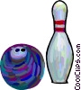 Bowling ball with pin Vector Clip Art graphic