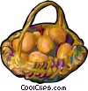 Vector Clip Art picture  of a basket of eggs