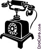 antique telephones Vector Clipart graphic