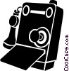 Vector Clip Art graphic  of an antique telephones