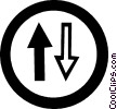 Vector Clipart graphic  of a traffic sign with arrows